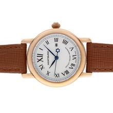 Replik Montblanc Star Rose Gold Case White Dial mit Lederband-Lady Size - Attraktive Montblanc Star Watch for You 35747