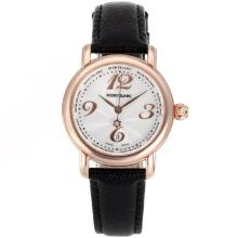 Replik Montblanc Star Rose Gold Case Number Marker weißes Zifferblatt mit Lederband-Lady Size - Attraktive Montblanc Star Watch for You 35695