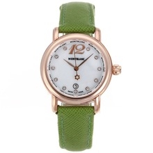Replik Montblanc Star Rose Gold Case Diamant Marker MOP Zifferblatt mit Green Leather Strap-Lady Size - Attraktive Montblanc Star Watch for You 35691