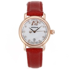 Replik Montblanc Star Rose Gold Case Diamant Marker MOP Zifferblatt mit Red Leather Strap-Lady Size - Attraktive Montblanc Star Watch for You 35689