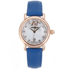 Replik Montblanc Star Rose Gold Case Diamant Marker MOP Zifferblatt mit Blue Leather Strap-Lady Size - Attraktive Montblanc Star Watch for You 35688