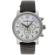 Repliki Montblanc Time Walker Working Chronograph Diamond Bezel with White Dial-Leather Strap – Attractive Montblanc Time Walker Watch for You 35681