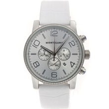 Replik Montblanc Time Walker Chronograph Arbeitsgruppe Diamond Bezel mit Silber Dial-Leather Strap - Attraktive Montblanc Time Walker Uhr für Sie 35680