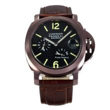 Replik Panerai Luminor Working Power Reserve Automatic Coffee Gold Case mit schwarzem Zifferblatt-Dark Brown Leather Strap - Attraktive Panerai Luminor Marina Uhr für Sie 30925