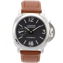 Replik Panerai Luminor Marina Swiss ETA Unitas 6497 Movement mit schwarzem Zifferblatt-Leather Strap - Attraktive Panerai Luminor Marina Uhr für Sie 31169