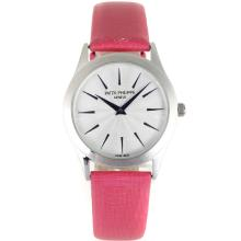 Replik Patek Philippe Classic Blue Stick Marker mit White Dial-Pink Leather Strap - Attraktive Patek Philippe Classics / Others for You 34316 Schauen