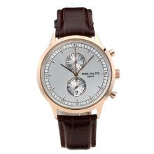 Replik Patek Philippe Chronograph Arbeitsgruppe Rose Gold Case mit Silver Dial-Brown Leather Strap - Attraktive Patek Philippe Classics / Others Uhr für Sie 34077