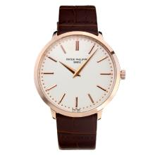 Replik Patek Philippe Calatrava Rose Gold Case mit White Dial-Leather Strap - Attraktive Patek Philippe Calatrava Uhr für Sie 34069