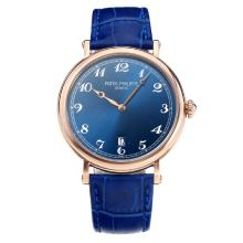 Replik Patek Philippe Calatrava Rose Gold Case mit Blue Dial-Leather Strap - Attraktive Patek Philippe Calatrava Uhr für Sie 34066
