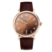 Repliki Patek Philippe Calatrava Rose Gold Case with Coffee Dial-Leather Strap – Attractive Patek Philippe Calatrava Watch for You 34065