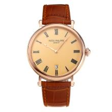 Replik Patek Philippe Calatrava Rose Gold Case mit Orange Dial-Leather Strap - Attraktive Patek Philippe Calatrava Uhr für Sie 34064