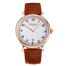 Replik Patek Philippe Calatrava Rose Gold Case mit White Dial-Leather Strap - Attraktive Patek Philippe Calatrava Uhr für Sie 34063