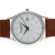 Replik Patek Philippe Classic mit White Dial-Leather Strap - Attraktive Patek Philippe Classics / Others Uhr für Sie 34826