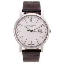 Replik Patek Philippe Classic mit White Dial-Leather Strap - Attraktive Patek Philippe Classics / Others Uhr für Sie 34823