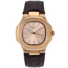 Replik Patek Philippe Nautilus Rose Gold Case mit Rose Gold Dial-Leather Strap - Attraktive Patek Philippe Nautilus Uhr für Sie 34621