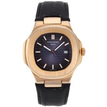 Replik Patek Philippe Nautilus Rose Gold Case mit Blue Dial-Leather Strap - Attraktive Patek Philippe Nautilus Uhr für Sie 34619