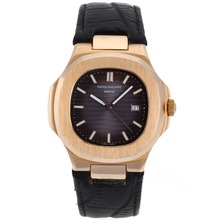 Replik Patek Philippe Nautilus Rose Gold Case mit Purple Dial-Leather Strap - Attraktive Patek Philippe Nautilus Uhr für Sie 34618