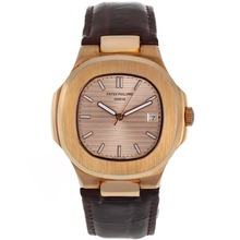Replik Patek Philippe Nautilus Automatik Rose Gold Case mit Rose Gold Dial-Leather Strap - Attraktive Patek Philippe Nautilus Uhr für Sie 34616