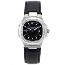 Replik Patek Philippe Nautilus Diamond Bezel with Black Dial-Leather Strap - Attraktive Patek Philippe Nautilus Uhr für Sie 34577