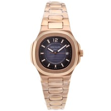 Repliki Patek Philippe Nautilus Full Rose Gold Case with Blue Dial – Attractive Patek Philippe Nautilus Watch for You 34555