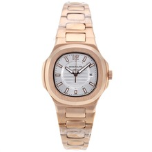 Repliki Patek Philippe Nautilus Full Rose Gold Case with Silver Dial – Attractive Patek Philippe Nautilus Watch for You 34554