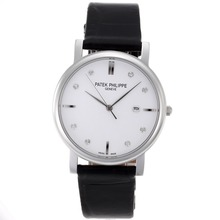 Replik Patek Philippe Classic Diamant Marker mit White Dial-Leather Strap - Attraktive Patek Philippe Classics / Others Uhr für Sie 34551