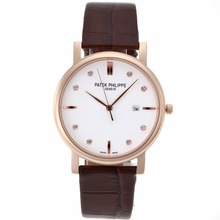 Replik Patek Philippe Classic Rose Gold Case Diamant Marker mit White Dial-Leather Strap - Attraktive Patek Philippe Classics / Others Uhr für Sie 34550
