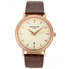 Replik Patek Philippe Classic Rose Gold Case-Stick Marker mit White Dial-Leather Strap - Attraktive Patek Philippe Classics / Others Uhr für Sie 34368