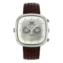 Replik Tag Heuer Silverstone Chronograph Arbeitsgruppe mit Silber Dial-Brown Leather Strap 27498