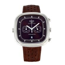 Replik Tag Heuer Silverstone Chronograph Arbeitsgruppe mit Brown Dial-Brown Leather Strap 27497