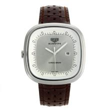 Replik Tag Heuer Silverstone mit Silber Dial-Brown Leather Strap 27496