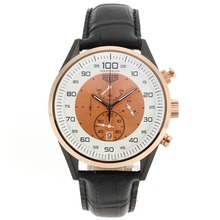 Replik Tag Heuer Mikrotimer Working Chronograph PVD Fall Rose Gold Lünette mit White / Champagne Dial-Black Leather Strap - Attraktive Tag Heuer Mikrotimer Uhr für Sie 27466