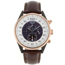 Replik Tag Heuer Mikrotimer Working Chronograph PVD Fall Rose Gold Lünette mit White / Brown Dial-Brown Leather Strap - Attraktive Tag Heuer Mikrotimer für Sie 27465 Schauen