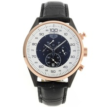 Replik Tag Heuer Mikrotimer Working Chronograph PVD Fall Rose Gold Lünette mit White / Black Dial-Black Leather Strap - Attraktive Tag Heuer Mikrotimer Uhr für Sie 27464