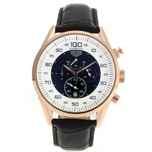 Replik Tag Heuer Mikrotimer Working Chronograph Rose Gold Case mit White / Black Dial-Black Leather Strap - Attraktive Tag Heuer Mikrotimer Uhr für Sie 27463