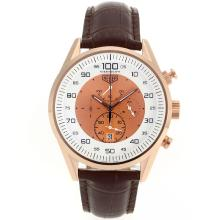 Replik Tag Heuer Mikrotimer Working Chronograph Rose Gold Case mit White / Champagne Dial-Brown Leather Strap - Attraktive Tag Heuer Mikrotimer für Sie 27462 Schauen