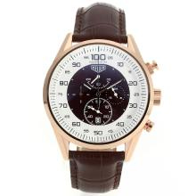 Replik Tag Heuer Mikrotimer Working Chronograph Rose Gold Case mit White / Brown Dial-Brown Leather Strap - Attraktive Tag Heuer Mikrotimer für Sie 27461 Schauen