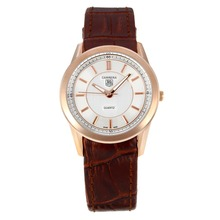 Replik Tag Heuer Carrera Rose Gold Case mit White Dial-Brown Leather Strap - Attraktive Tag Heuer Carrera Uhr für Sie 27242