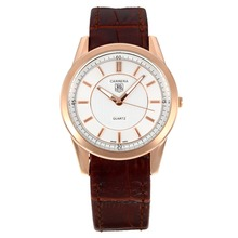 Replik Tag Heuer Carrera Rose Gold Case mit White Dial-Brown Leather Strap - Attraktive Tag Heuer Carrera Uhr für Sie 27241