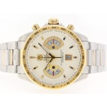 Repliki Tag Heuer Grand Carrera Calibre 17 Working Chrono Two Tone with White Dial-Same Structure As ETA Version-High Quality – Attractive Tag Heuer Carrera Watch for You 28114