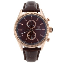 Replik Tag Heuer Carrera Cal. 1887 Chronograph Arbeitsgruppe Rose Gold Case mit Brown Dial-Leather Strap - Attraktive Tag Heuer Carrera Uhr für Sie 27824