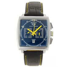Replik Tag Heuer Monaco Automatic Yellow Needles with Black Dial-Leather Strap - Attraktive Tag Heuer Monaco / Monza für Sie 27594 Schauen