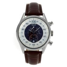 Replik Tag Heuer Mikrotimer Working Chronograph mit Brown / White Dial-Leather Strap - Attraktive Tag Heuer Mikrotimer Uhr für Sie 27509