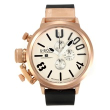 Repliki U-Boat Italo Fontana Working Chronograph Rose Gold Case with white Dial-Black Markers – Attractive U-Boat Italo Fontana Watch for You 35173