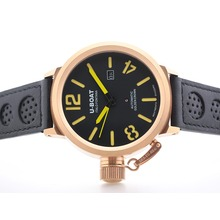Repliki U-boat Italo Fontana Automatic Rose Gold Case with Black Dial -Yellow Marking – Attractive U-Boat Italo Fontana Watch for You 35332