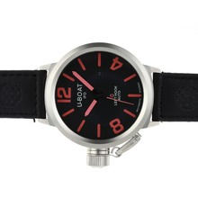 Replik U-Boat Italo Fontana Automatik Schwarzes Zifferblatt mit Red Marker-Leather Strap - Attraktive U-Boat Italo Fontana for You 35306 Schauen