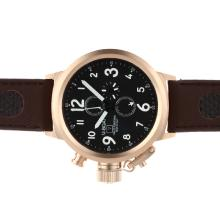Replik U-Boat Italo Fontana Working Chronograph Rose Gold Case schwarzes Zifferblatt mit weißen Markierungen-Leather Strap - Attraktive U-Boat Italo Fontana for You 35304 Schauen