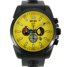 Replik Ferrari See-through zurück Fall Working Chronograph PVD Gehäuse mit Yellow Dial-Rubber Strap - Attraktive Ferrari Watch für Sie 36988