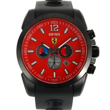 Replik Ferrari See-through zurück Fall Working Chronograph PVD Gehäuse mit Red Dial-Rubber Strap - Attraktive Ferrari Watch für Sie 36987