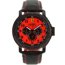 Replik Ferrari Chronograph Arbeitsgruppe PVD Gehäuse mit Red Dial-Leather Strap - Attraktive Ferrari Watch für Sie 36986
